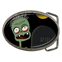 Halloween zombie on the cemetery Belt Buckles