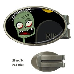 Halloween zombie on the cemetery Money Clips (Oval)
