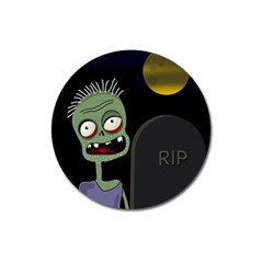 Halloween zombie on the cemetery Magnet 3  (Round)