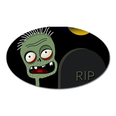 Halloween zombie on the cemetery Oval Magnet