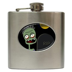 Halloween zombie on the cemetery Hip Flask (6 oz)