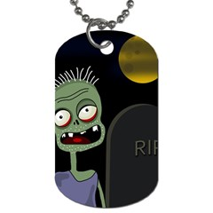 Halloween zombie on the cemetery Dog Tag (Two Sides)