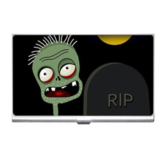Halloween zombie on the cemetery Business Card Holders