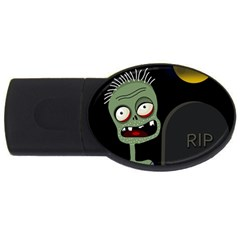 Halloween zombie on the cemetery USB Flash Drive Oval (1 GB)
