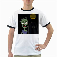 Halloween zombie on the cemetery Ringer T-Shirts