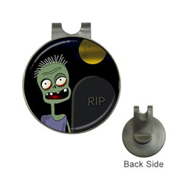 Halloween zombie on the cemetery Hat Clips with Golf Markers