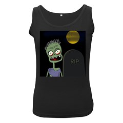 Halloween zombie on the cemetery Women s Black Tank Top