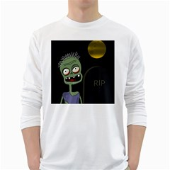 Halloween zombie on the cemetery White Long Sleeve T-Shirts