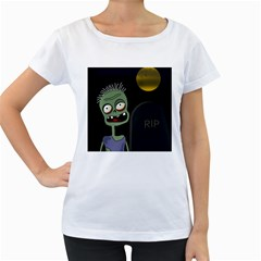 Halloween zombie on the cemetery Women s Loose-Fit T-Shirt (White)
