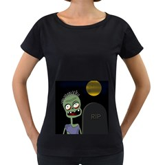 Halloween zombie on the cemetery Women s Loose-Fit T-Shirt (Black)