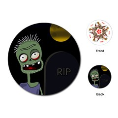 Halloween zombie on the cemetery Playing Cards (Round)