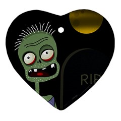 Halloween zombie on the cemetery Heart Ornament (2 Sides)