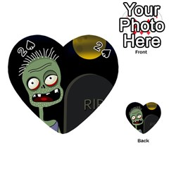 Halloween zombie on the cemetery Playing Cards 54 (Heart)