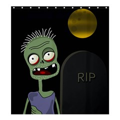 Halloween zombie on the cemetery Shower Curtain 66  x 72  (Large)