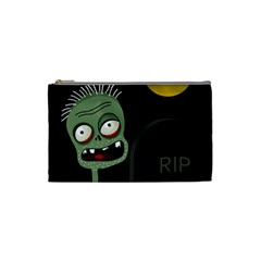 Halloween zombie on the cemetery Cosmetic Bag (Small)