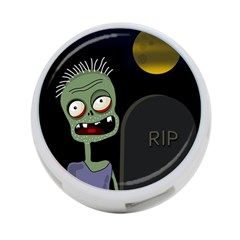 Halloween zombie on the cemetery 4-Port USB Hub (One Side)