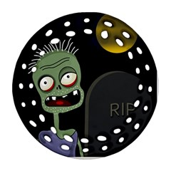 Halloween zombie on the cemetery Round Filigree Ornament (2Side)