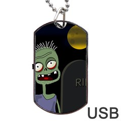 Halloween zombie on the cemetery Dog Tag USB Flash (Two Sides)