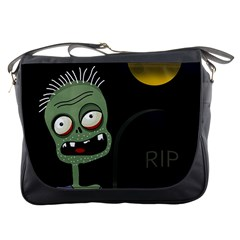 Halloween zombie on the cemetery Messenger Bags