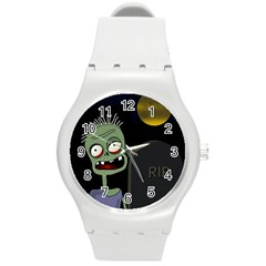 Halloween zombie on the cemetery Round Plastic Sport Watch (M)