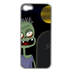Halloween zombie on the cemetery Apple iPhone 5 Case (Silver)