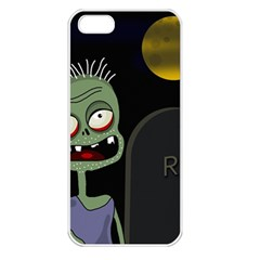 Halloween zombie on the cemetery Apple iPhone 5 Seamless Case (White)