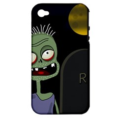 Halloween zombie on the cemetery Apple iPhone 4/4S Hardshell Case (PC+Silicone)