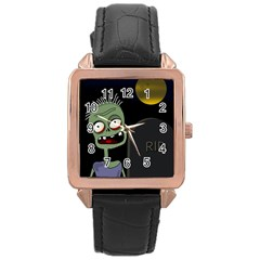 Halloween zombie on the cemetery Rose Gold Leather Watch