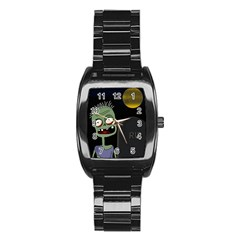 Halloween Zombie On The Cemetery Stainless Steel Barrel Watch