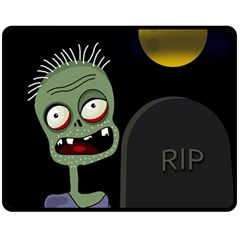 Halloween zombie on the cemetery Double Sided Fleece Blanket (Medium)
