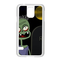 Halloween zombie on the cemetery Samsung Galaxy S5 Case (White)