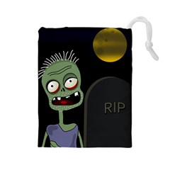 Halloween zombie on the cemetery Drawstring Pouches (Large)