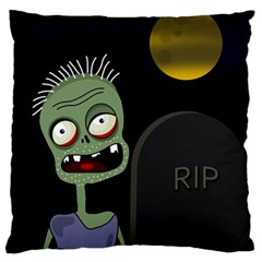 Halloween zombie on the cemetery Large Flano Cushion Case (One Side)