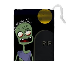Halloween zombie on the cemetery Drawstring Pouches (Extra Large)