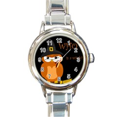 Halloween witch - orange owl Round Italian Charm Watch