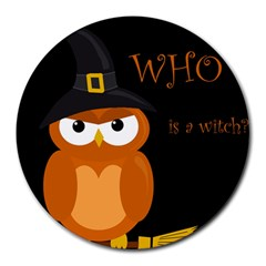 Halloween witch - orange owl Round Mousepads