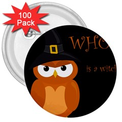 Halloween witch - orange owl 3  Buttons (100 pack)