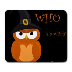 Halloween witch - orange owl Large Mousepads