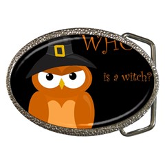 Halloween witch - orange owl Belt Buckles