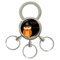 Halloween Witch   Orange Owl 3 Ring Key Chains