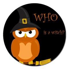 Halloween witch - orange owl Magnet 5  (Round)