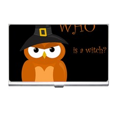 Halloween witch - orange owl Business Card Holders