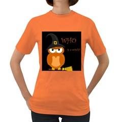Halloween witch - orange owl Women s Dark T-Shirt
