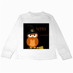 Halloween witch - orange owl Kids Long Sleeve T-Shirts