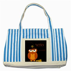 Halloween witch - orange owl Striped Blue Tote Bag