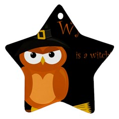 Halloween witch - orange owl Star Ornament (Two Sides)
