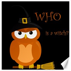 Halloween witch - orange owl Canvas 12  x 12