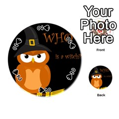 Halloween witch - orange owl Playing Cards 54 (Round)