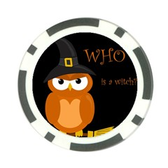 Halloween witch - orange owl Poker Chip Card Guards