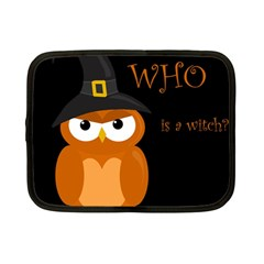 Halloween witch - orange owl Netbook Case (Small)